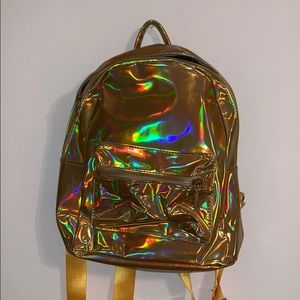 gold holographic mini backpack
